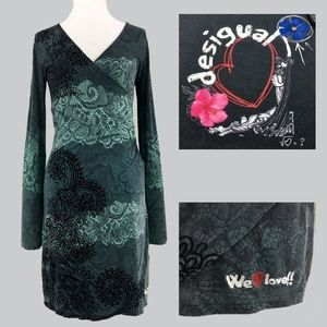 DESIGUAL Lace Print w/Velvet Faux Wrap Dress